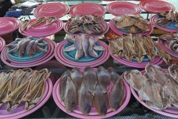 각 섬에서 나는 다양한 수산물을 만날 수 있는 녹동항 수산시장